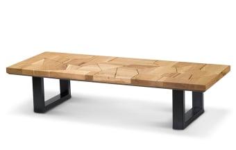 """שולחן סלון מאלון מבוקע. פלטה עליונה בחיתוך חלקים שונים של עץ מלא. פלטה תחתונה מעץ בירץ רגל ברזל שחורה בצורת U.  מידות: אורך: 160 ס""""מ רוחב: 60 ס""""מ גובה: 36 ס""""מ"""