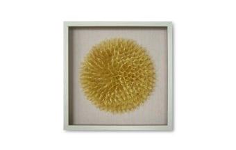 """.מסגרת עץ אורן דוגמת פרח מבד.. צבע: צהוב. מידות: 60*60 ס""""מ"""