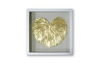 """מסגרת MDF. דוגמת נוצות.. צבע: מסגרת לבנה, לב זהב.. מידות: 50*50 ס""""מ"""