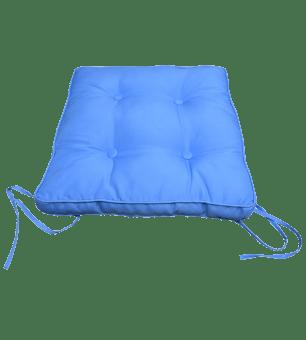 כרית בסיס בצבע תכלת עם חוטים בארבעת פינות הכרית, לקשירה למושב הכסא.