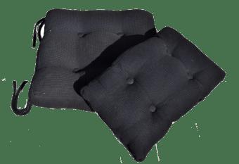 סט כריות מבד פיקה שחור המורכב מכרית בסיס וכרית גב. הכריות נתפרו במיוחד לכסאות הנדנדה של ניחותא, והן בהחלט שדרוג שהופך את הכסא לרך ומפנק! הכריות איכותיות מאוד וניתנות לכביסה.