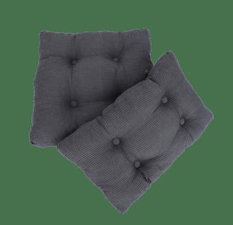 סט כריות מבד פיקה אפור כהה המורכב מכרית בסיס וכרית גב. הכריות נתפרו במיוחד לכסאות הנדנדה של ניחותא, והן בהחלט שדרוג שהופך את הכסא לרך ומפנק! הכריות איכותיות מאוד וניתנות לכביסה.