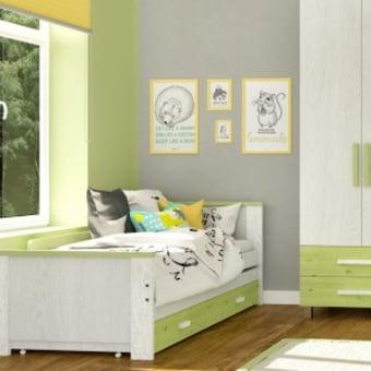 """מיטת שחר – עשויה מעץ מלא בשילוב סנדביץ. המיטה כוללת : מיטה+ מיטה נפתחת+ 2 מגירות איחסון + 2 מזרנים 190/80/8 ס""""מ ספוג לבן + מעקה בטיחות מיטת שחר – לחדרי הילדים המועצבים של גלמר!"""