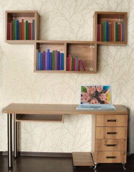 תיאור מוצר סיפריה דגם נדב בצבע שיטה. כוללת שולחן כתיבה, שידת מגירות וקוביות קיר מעוצבות.