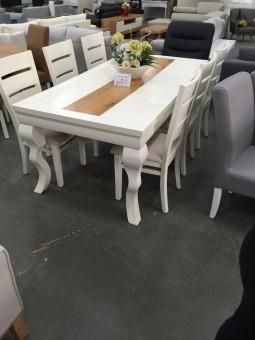 פינת אוכל דגם לואי בשילוב אלון + 6 כסאות מרופדים מידת שולחן 180/100 ניתן לשנות מידות חלקן בתשלום וחלקן לא באופציות הבחירה של המוצר ניתן לבחור צבעים לריפוד הכסאות ולרגלי הכסאות באופציות המוצר או בשיחה עם נציג 03-9311811