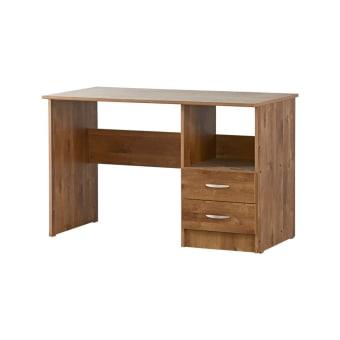 שולחן כתיבה עם שתי מגירות עשוי מלמין יצוק נח לכתיבה ולמחשב נייד