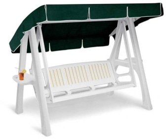 נדנדת גן איכותית מפוארת נדנדה מרווחת מיועדת ל-3 אנשים להצבה על המרפסת או בגינה שלד הנדנדה עשוי יציקת פלסטיק בעיצוב מרהיב עין.
