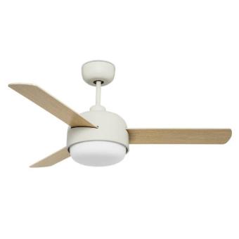 """מאוורר תאורה תקרתי KLAR – מאוורר איכותי מבית leds c4 . מאוורר איכותי ומעוצב והכי חשוב- שקט ומאיר! מאוורר תאורה תקרתי הנו פתרון איכותי להארת חדרים והפך למוצר מבוקש ו""""מאסט"""" בכל בית! המאוורר מגיע עם שלט המאפשר: 1. שליטה על עוצמת האוורור- HI/ MED/LOW 2. הדלקה וכיבוי של האור. 3 – טיימר למאוורר!!! (1/2/4/8 שעות) מאוורר תאורה תקרתי – משלב מאוורר וגוף תאורה גם יחד. הוא מעוצב ומשלב עץ למראה רך וחמים יותר. סידרה: LC4 מידע נוסף: IP20 חומרים: Steel,Glass צבעים: Blades: Off-white,light wood / Diffuser: Matt opal / Structure: Off-white"""