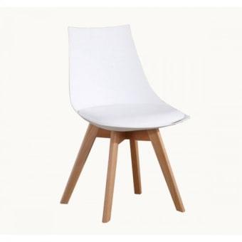 """חומרים:     רגליים מעץ מלא ציפוי:     פלסטיק קשיח עם כרית מרופד דמוי עור גוון:     לבן מידות:     52*48 ס""""מ , גובה 81.5 ס""""מ. הרכבה:     הרכבה עצמית ע""""י הוראות הרכבה. קטגוריה:     כסאות לפינת אוכל"""