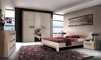 חדר שינה מסדרת Vincenza חדר שינה בעיצוב מודרני, קווים נקיים המשלב צבעים בהירים ואלמנטים אחידים . חדר שינה קומפלט הכולל: מיטה זוגית עם ראש מיטה מעוצב, אפשרות להגדלת המיטה ל-King