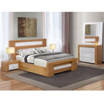 """בראון הינו חדר שינה מושלם. הוא כולל מיטה זוגית, שתי שידות, קומודה ומראה. חדר השינה כולו משולב לבן מבריק עם גימורי עץ. החומר ממנו בנוי חדר השינה הוא אמ די אף דחוס משולב עץ אלון. המיטה הזוגית מתאימה למזרן במידות של 1.40 על 1.90 מ'. וניתן לבחור גם מיטה שמתאימה למזרן במידות של 1.60 על 2.00 מ'. החלק הקדמי של המיטה, מסגרת המיטה וכן ראש המיטה שהוא גבוה הם בצבע לבן מבריק משולב בגימור עץ. חשוב לציין שמדובר בצביעה לבנה בתנור, בתהליך התזה מיוחד, מה שהופך את הצבע הלבן למבריק. שתי השידות בנויות כמו המיטה ובכל שידה יש מגירה אחת. כך גם הקומודה, שהיא קומודה גבוהה שכוללת שלוש מגירות. המראה הינה גדולה ובעלת מסגרת לבנה מבריקה. מידות המיטה:   רוחב: 1.47 מ' אורך: 1.97 מ'   גובה : 45 ס""""מ   גובה כולל ראש מיטה : 110 ס""""מ המיטה מתאימה למזרן במידות 1.40 על 1.90 מ'. ניתן להזמין מיטה שמתאימה למזרן במידות 1.60על 2.00 מ' מידות השידה:   רוחב : 60 ס""""מ   גובה: 35 ס""""מ   עומק : 40 ס""""מ מידות הקומודה:   רוחב : 100 ס""""מ   גובה: 80 ס""""מ   עומק : 40 ס""""מ   גובה מראה: 180 ס""""מ"""