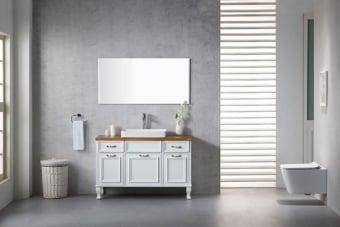 מפרט  ארון אמבטיה עומד מעוצב סופר איכותי צבע אפוקסי-צביעת תנור רגליים עץ מלא פרזול יוקרתי -סגירה שקיטה