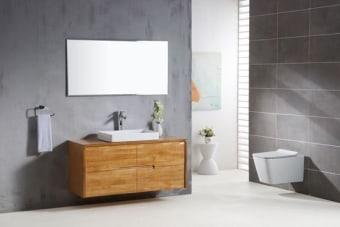 מפרט  ארון אמבטיה מעוצב סופר איכותי גוף עץ מלא חזית עץ מלא פרזול יוקרתי -סגירה שקיטה