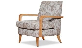 כורסא דגם קורפו    בסגנון קלאסי מודרני    שילוב עץ אלון ובדי רוסטיקה ואקווה קלין   מידות      70/66/85