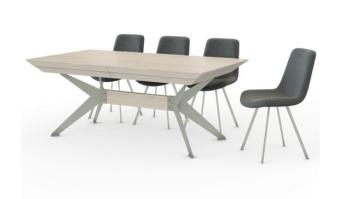 """דגם – פינת אוכל אולימפוס סגנון – מודרני    מבנה- רגלי מתכת צבועות (שחור/אפור) בשילוב פורניר אלון פלטה בגימור פורניר אלון מגוון: אלון טבעי או וויט ווש    הגדלות – לשולחן 4 הגדלות היוצאות ממרכז השולחן. גובה השולחן – 78~ ס""""מ. מידות – 160/105+ 4 הגדלות של 50 ס""""מ כל אחת    200/110+ 4 הגדלות של 50 ס""""מ כל אחת   מידות          160/105+ 4 הגדלות של 50 ס""""מ    200/110+ 4 הגדלות של 50 ס""""מ"""