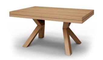 """שולחן אוכל דגם גפן    סגנון – מודרני מבנה- פלטה מצופה פורניר אלון הגדלות – לשולחן 4 הגדלות היוצאות ממרכז הפלטה.    גוון- אלון       מידות      160/105 ס""""מ    גובה – 78 ס""""מ"""