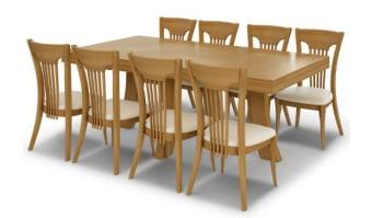 """שולחן אוכל דגם כרמל    סגנון – עכשווי, אלגנטי עיצוב נקי, פלטה בעלת משחק פורניר מעניין. שילוב פורניר אלון הגדלות – לשולחן 4 הגדלות היוצאות מ 2צדי השולחן   מידות      210/110 + 4 הגדלות של 45 ס""""מ כל אחת"""