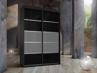 """ארון הזזה בעל שתיים או שלוש דלתות עשויות זכוכית שחורה ופסים של זכוכית אפורה בינהם פסי הפרדה בגוון כסף. צבע הדלתות החיצוניות בתמונה הוא ונגה.  המחיר המוצג הוא לרוחב ארון של 160 ס""""מ,  דלתות ארון עם מנגנון טריקה שקטה מסילות אלומיניום פנימיות באיכות הגבוהה ביותר."""