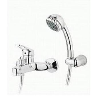 אופק דגם - 70010  סוללת אמבטיה עם מתלה מתכוונן, צינור ומזלף,גימור כרום.