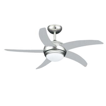 """מאוורר תקרה """"44 לבן 5 כנפיים + שלט דגם ATL-9044 - צבע כסוף        מאוורר תקרה בטיחותי ושקט במיוחד הכולל גופי תאורה.      ניתן להרכבה כשההפעלה תהיה על פי בחירה:      באמצעות מפסק קיר (כלול במכשיר) או על ידי שלט רחוק (כלול במכשיר) המאפשר פיקוד על כלל פעולות"""
