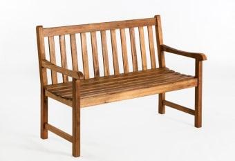 """ספסל עץ דו מושבי דגם ג'ורדן  מידות: 120×63.6 גובה 89.3 ס""""מ"""