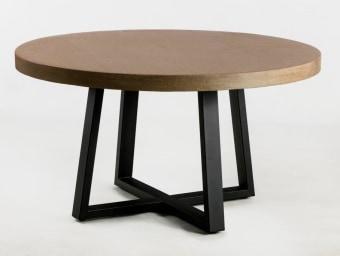 """שולחן עגול דגם טרפז  פלטת בטון  רגל ברזל שחורה  קוטר 140 H76 ס""""מ  עמיד לתנאי חוץ מקורים"""
