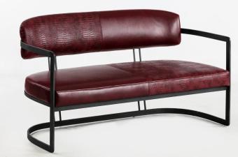 """ספסל דו מושבי מרופד דגם HF020  שלד שחור  ריפוד דמוי עור בורדו  מידות: 71*140.5*80 ס""""מ"""