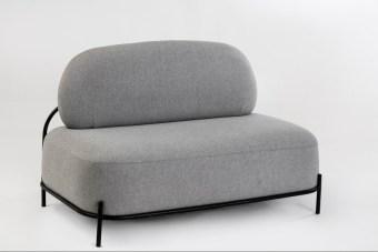 """ספה דו מושבית דגם 06-02  שלד מתכת + ריפוד בד  מידות: 125*72*78 ס""""מ"""