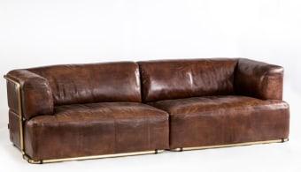 """ספה תלת מושבית דגם פולריס  מידות: 71*94*257 ס""""מ  ריפוד עור וינטאז סיגר"""