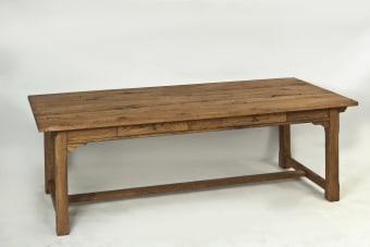 שולחן אוכל דגם בורגנדי עץ אלון פראי, צבע בסנו עתיק  240/100/78