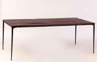 שולחן קולו, TAD330-A, עץ אלון לבן, רגלי מתכת צבע שחור  200*95*76