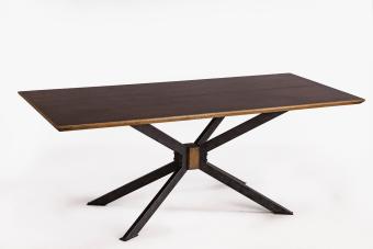 """שולחן אוכל ספיידר מלבני  שלד חלודה  פלטה צבועה בצבע ענתיק עם נקודות שחורות  מידות: 200X90 גובה 76 ס""""מ"""