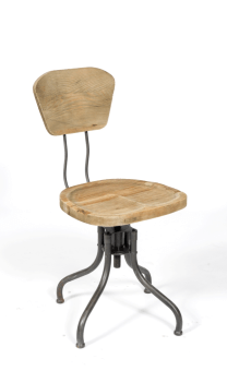 כסא משרדי דגם 770 רגלי מתכת מושב וגב עץ אורן מולבן