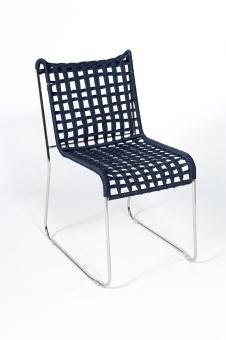 כסא ללא ידיות דגם 688 שלד ניקל  מושב וגב חבל כחול  מבצע עד גמר המלאי