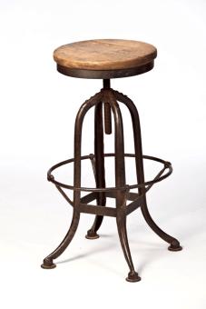 """כסא בר שנדו , מסתובב גובה 63-80 ס""""מ, מושב עגול קוטר 32 ס""""מ עץ אלון"""