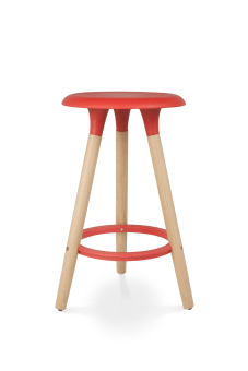 מידות: גובה 67 ס״מ, קוטר - 40 ס״מ     חומרים: עץ בוק ופלסטיק     מותאם לבר/אי בגובה 90 ס״מ     צבעים: אדום     ניתן להזמין בצבעים נוספים