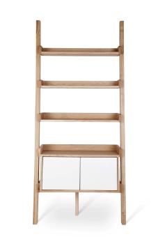 """מידות: אורך – 90/60 ס""""מ, עומק - 40 ס""""מ, גובה – 203 ס""""מ     חומרים: אלון מבוקע     צבע חזית: לבן     לסולם 2 דלתות"""