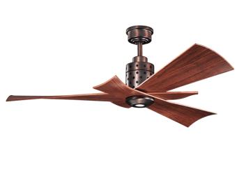 """מאוורר תקרה מדגם פרי בעל מראה חדיש ועיצוב נקי וייחודי. שלושת הלהבים חופפים אחד על השני ונותנים מראה ייחודי אשר ישלים את העיצוב בכל חדר. להבים בגודל 56 אינץ' שמתאים לחדרים/חללים גדולים של מעל 13 מ""""ר. המאוורר כולל תאורה ושלט רחוק מעוצב . יצרן Kichler :"""