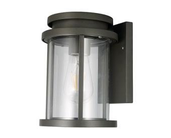 צמוד קיר לשימוש תאורת חוץ. מקור אור 1X18W EL E27.   מיוצר מאלומיניום + זכוכית.   זמין בצבע אפור, לבן, בזלת.