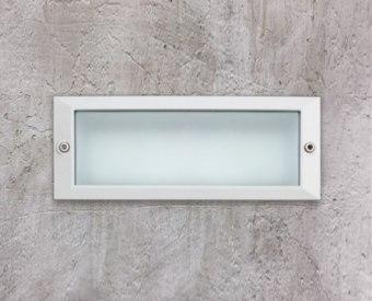 שקוע קיר לשימוש תאורת חוץ. מקור אור 6W לד.   מיוצר מאלומיניום + זכוכית.   זמין בצבע אפור, לבן.