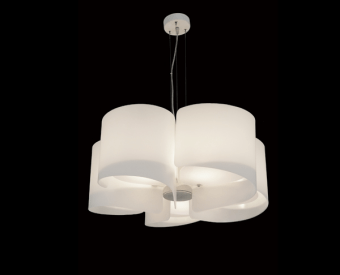 מנורת תלייה לשימוש תאורת פנים. מקור אור 5X40W ECO / EL E27.   מיוצר מזכוכית.   זמין בצבע לבן, אדום.