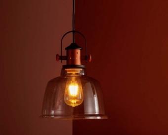 מנורת תלייה לשימוש תאורת פנים. מקור אור 60W ECO / EL E27.   מיוצר מפלדה + זכוכית.   זמין בצבע שקוף.