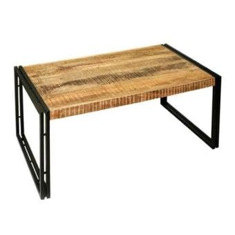 שולחן סלון עשוי עץ מנגו בעיבוד גס בשילוב רגלי ברזל שחורות.   מידה: 110X60X45H   + המחיר מתייחס לשולחן אחרון במלאי מתצוגה.