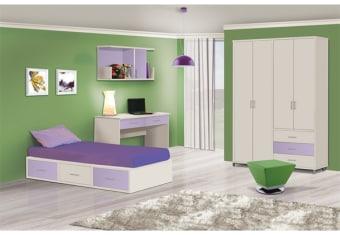חדר ילדים עם מיטת בסיס הכוללת 3 מגירות, שולחן כתיבה ישר עם 2 מגירות מובנות, כוורת מעוצבת עם דלת אחת, ארון מעוצב בעל צבעים מודרניים מידות חיצוניות כוורת : גובה: 575 רוחב: 1205 עומק: 292 שולחן כתיבה: גובה: 803 רוחב: 1400 עומק: 550 ארון 4 דלתות: גובה: 2350 רוחב: 1630 עומק: 520 מיטת נמוכה: גובה: 310 רוחב: 920 עומק: 1920