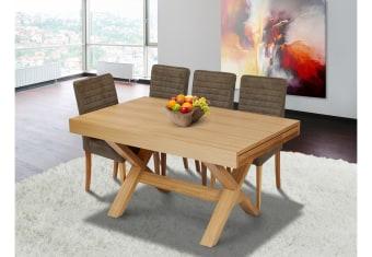 """שולחן פינת אוכל +6    כיסאות דגם מיאמי גדול פינת אוכל בסגנון מודרני    + 6 כיסאות שולחן פורניר עץ אלון    בשילוב עץ מלא מידות: 90*150 ס""""מ+ הארכה    של 150 ס""""מ צבעים:טבעי תיתכן סטייה של 2% מחירון משלוח : 450 ₪ (ישולם למוביל) תנאי משלוח : הובלה והרכבה ישולם    ע""""י הלקוח למוביל בעת ההגעה. מעל קומה שלישית ללא מעלית תוספת של 50 ש""""ח    לקומה במידה וצריך מנוף ישולם ע""""י הלקוח בכל    מקרה של צורך בשרותי מנוף חיצוניים או פירוק והרכבה החיוב יחול על הלקוח. הובלות    מעבר לנתיבות באר שבע שדרות וללהבים דרומה ומערבה {עוטף עזה עד מעברי הגבול} ומעבר    לקו הירוק, לעפולה מזרחה ועד לחיפה צפונה ייתכן עיכוב באספקה של עד 14 יום ותוספת    של 250 ₪ ישירות למוביל. לאזור    מצפה רמון\אילת תהיה תוספת של 350 ₪."""