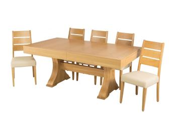 """שולחן פינת אוכל +6    כיסאות דגם טופז פינת אוכל בעיצוב מודרני    יוקרתי ועשיר + 6 כיסאות פינת האוכל בגימור    פורניר אלון בשילוב עץ מלא. פינת אוכל ענקית    נפתחת לגודל 490 ס""""מ מידות: 105*190 + 4 הארכות    50 ס""""מ כל אחת+2 הארכות פרפר מהאמצע 50 ס""""מ כל אחת צבעים:טבעי תיתכן סטייה של 2% מחירון משלוח : 450 ₪ (ישולם למוביל) תנאי משלוח : הובלה והרכבה ישולם    ע""""י הלקוח למוביל בעת ההגעה. מעל קומה שלישית ללא מעלית תוספת של 50 ש""""ח    לקומה במידה וצריך מנוף ישולם ע""""י הלקוח בכל    מקרה של צורך בשרותי מנוף חיצוניים או פירוק והרכבה החיוב יחול על הלקוח. הובלות    מעבר לנתיבות באר שבע שדרות וללהבים דרומה ומערבה {עוטף עזה עד מעברי הגבול} ומעבר    לקו הירוק, לעפולה מזרחה ועד לחיפה צפונה ייתכן עיכוב באספקה של עד 14 יום ותוספת    של 250 ₪ ישירות למוביל. לאזור    מצפה רמון\אילת תהיה תוספת של 350 ₪."""