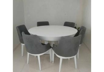 """שולחן פינת אוכל +6    כיסאות דגם גולד פינת אוכל עגולה    בעיצוב מודרני יוקרתי + 6 כיסאות פינת האוכל בגימור MDF  בצביעת אפוקסי בשילוב עץ    מלא כסאות פינת האוכל מעץ    מלא ומרופדות בבד רחיץ ודוחה נוזלים. מידות: 140 ס""""מ + 2    הארכות של 50 ס""""מ תיתכן סטייה של 2% ניתן לייצר בשילובי    צבעים שונים ובהתאמה אישית בתאום מול נציג המכירות תנאי משלוח : הובלה והרכבה ישולם    ע""""י הלקוח למוביל בעת ההגעה. מעל קומה שלישית ללא מעלית תוספת של 50 ש""""ח    לקומה במידה וצריך מנוף ישולם ע""""י הלקוח בכל    מקרה של צורך בשרותי מנוף חיצוניים או פירוק והרכבה החיוב יחול על הלקוח. הובלות    מעבר לנתיבות באר שבע שדרות וללהבים דרומה ומערבה {עוטף עזה עד מעברי הגבול} ומעבר    לקו הירוק, לעפולה מזרחה ועד לחיפה צפונה ייתכן עיכוב באספקה של עד 14 יום ותוספת    של 250 ₪ ישירות למוביל. לאזור    מצפה רמון\אילת תהיה תוספת של 350 ₪. מחירון משלוח : 450 ₪ (ישולם למוביל)"""