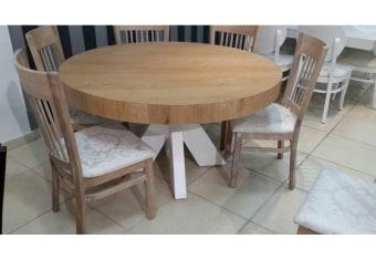 """שולחן פינת אוכל +6    כיסאות דגם כוכב פינת אוכל עגולה בסגנון    מודרני + 6 כיסאות פלטה עליונה מפורניר    עץ אלון טבעי כסאות פינת האוכל    ורגל השולחן מעץ מלא  מידות: 140 ס""""מ+ 2 הארכות    של 50 ס""""מ צבעים:טבעי בשילוב    לבן(שילובים נוספים מול נציג המכירות) ניתן לייצר בהתאמה    אישית תיתכן סטייה של 2% מחירון משלוח : 450 ₪ (ישולם למוביל) תנאי משלוח : הובלה והרכבה ישולם    ע""""י הלקוח למוביל בעת ההגעה. מעל קומה שלישית ללא מעלית תוספת של 50 ש""""ח    לקומה במידה וצריך מנוף ישולם ע""""י הלקוח בכל    מקרה של צורך בשרותי מנוף חיצוניים או פירוק והרכבה החיוב יחול על הלקוח. הובלות    מעבר לנתיבות באר שבע שדרות וללהבים דרומה ומערבה {עוטף עזה עד מעברי הגבול} ומעבר    לקו הירוק, לעפולה מזרחה ועד לחיפה צפונה ייתכן עיכוב באספקה של עד 14 יום ותוספת    של 250 ₪ ישירות למוביל. לאזור    מצפה רמון\אילת תהיה תוספת של 350 ₪."""