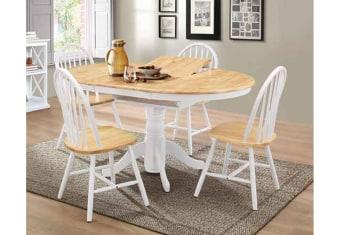 """שולחן פינת אוכל +4    כיסאות דגם ניר פינת אוכל עגולה בסגנון    צעיר + 4 כיסאות פלטה עליונה מבוצ'ר    עץ מלא בצבע טבעי כסאות פינת האוכל    ורגל השולחן מעץ מלא  מידות: 100 ס""""מ+ הארכה    של 40 ס""""מ צבעים:לבן +טבעי,לבן    מלא תיתכן סטייה של 2% מחירון משלוח : 450 ₪ (ישולם למוביל) תנאי משלוח : הובלה והרכבה ישולם    ע""""י הלקוח למוביל בעת ההגעה. מעל קומה שלישית ללא מעלית תוספת של 50 ש""""ח    לקומה במידה וצריך מנוף ישולם ע""""י הלקוח בכל    מקרה של צורך בשרותי מנוף חיצוניים או פירוק והרכבה החיוב יחול על הלקוח. הובלות    מעבר לנתיבות באר שבע שדרות וללהבים דרומה ומערבה {עוטף עזה עד מעברי הגבול} ומעבר    לקו הירוק, לעפולה מזרחה ועד לחיפה צפונה ייתכן עיכוב באספקה של עד 14 יום ותוספת    של 250 ₪ ישירות למוביל. לאזור    מצפה רמון\אילת תהיה תוספת של 350 ₪."""