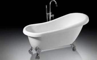 """אמבטיה 100% אקליק טהור  צבע לבן  מידות: 1530x700x790 מ""""מ,  אמבטיה עשויה 100% אקריליק טהור,  הוראות הכנה להתקנה:  1. הכנת פתח ניקוז בגודל 30*50 ס""""מ ועומק 10 ס""""מ מתחת למרכזה של האמבטיה.  2. התקנת רגליים לפילוס (איזון) האמבטיה, אם יש צורך.  3. אל ניקוז האמבטיה יתחבר צינור בקוטר 40 מ""""מ.  4. הכנה לצינורות חם / קר בהתאם לדרישה- במידה ולאמבטיה ברז מילוי עומד יש צורך בהכנת צנרת מהרצפה, אם לאמבטיה אביק מילוי יש צורך בצנרת צמוד לאביק במקום נסתר מהעין, אם לאמבטיה אונטרפוץ או סוללה יש צורך בהכנת צנרת מקיר."""